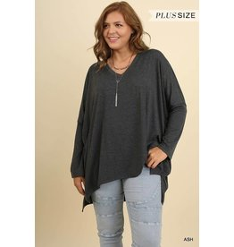 HI-LO V-NECK TOP W/ BATWING SLEEVES