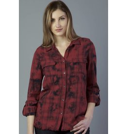DEAR JOHN JEANS MADILYN PLAID MINERAL WASH TOP