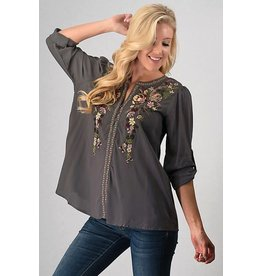 FLORAL EMBROIDERED ROLLED UP SLEEVE SHIRT