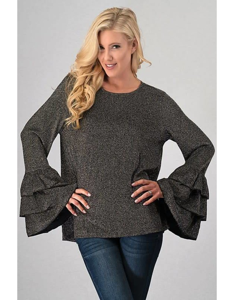 TIERED BELL SLEEVE TOP WITH KEYHOLE BACK