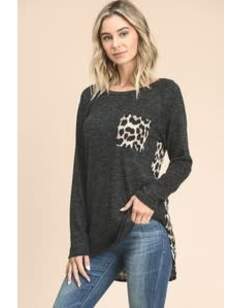 VANILLA BAY L/S HI-LO LEOPARD BACK TOP