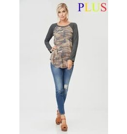 CAMO TUNIC TOP W/ RAGLAN SLEEVES PLUS