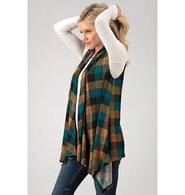 PLAID OPEN FRONT VEST