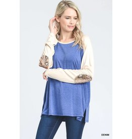 SOLID BASEBALL TEE W/ SEQUIN ELBOW PATCH