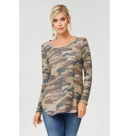 PLUS CAMO SCOOP NECK TOP