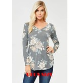 PLUS V NECK FLORAL LONG SLEEVE TOP