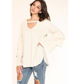 LISTICLE KNIT LAYERED BELLSLEEVE TOP