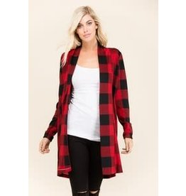 0 STYLEHOLIC L/S PLAID OPEN CARDIGAN