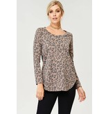 A.GAIN FRENCH TERRY ANIMAL PRINT SCOOP NECK TOP