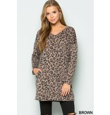 FRENCH TERRY L/S VNECK ANIMAL PRINT TUNIC W/ POCKETS