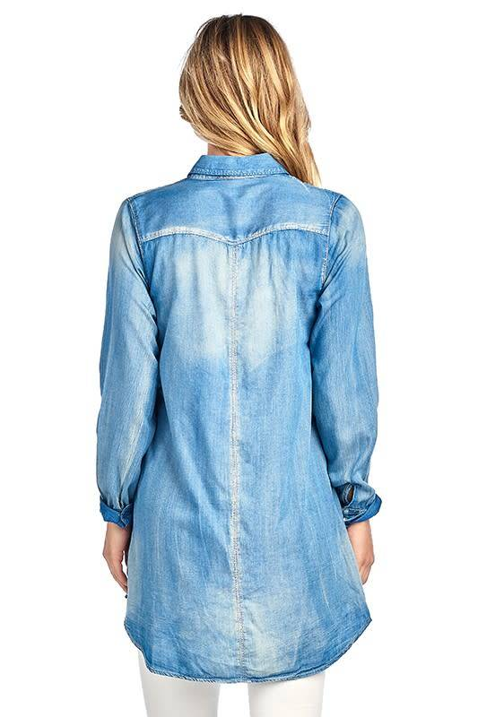 PLUS CHAMBRAY TOP