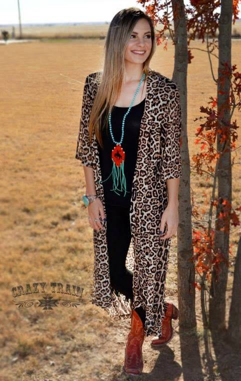 DIXIE -LEOPARD PRINT DUSTER ONE SIZE