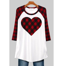 CUPID -PLAID HEART BASEBALL T