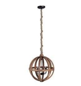 Round Reclaimed Wood Chandelier- Natural