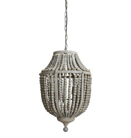 Bead and Metal Chandelier- Gray