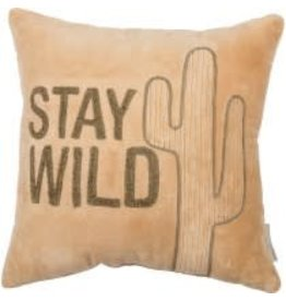 VELVET PILLOW STAY WILD 14 INCH SQUARE