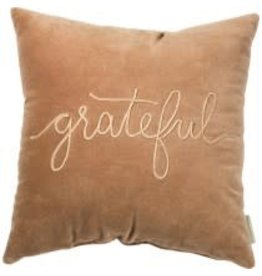 VELVET PILLOW GRATEFUL 18 INCH SQUARE