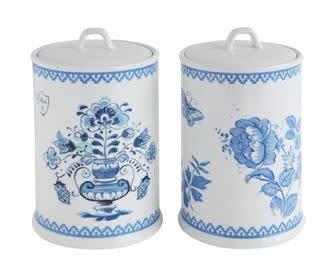 """9.5"""" STONEWARE JAR, BLUE/WHITE ASST"""