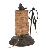 """8""""H Cast Iron String Holder w Scissors and Jute  (54 Yards)"""