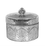 """6-1/2"""" Round Mercury Glass Container w Lid, Ant Silver"""