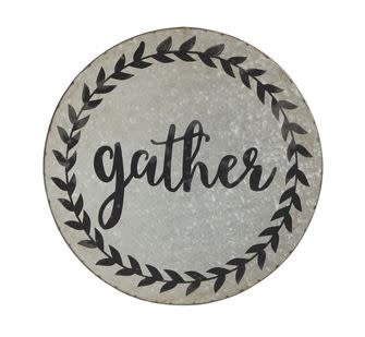 "14"" ROUND TIN WALL DECOR ""GATHER"""