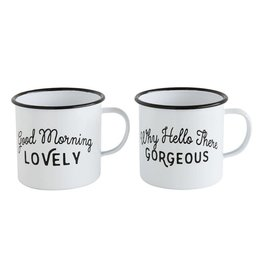 WHITE ENAMEL CUP WITH SAYING, 2 STYLES