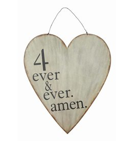 "Metal Heart Wall Decor ""4 Ever & Ever Amen"" w/ Wire Hanger"
