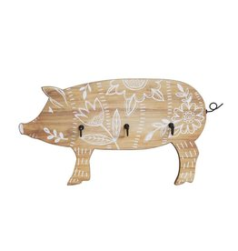 Wall Decor, Pig w/ 3 Metal Hooks, White Floral Design ©