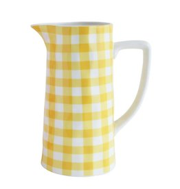 "5"" Round x 9-1/2""H Stoneware Pitcher, Yellow Gingham"
