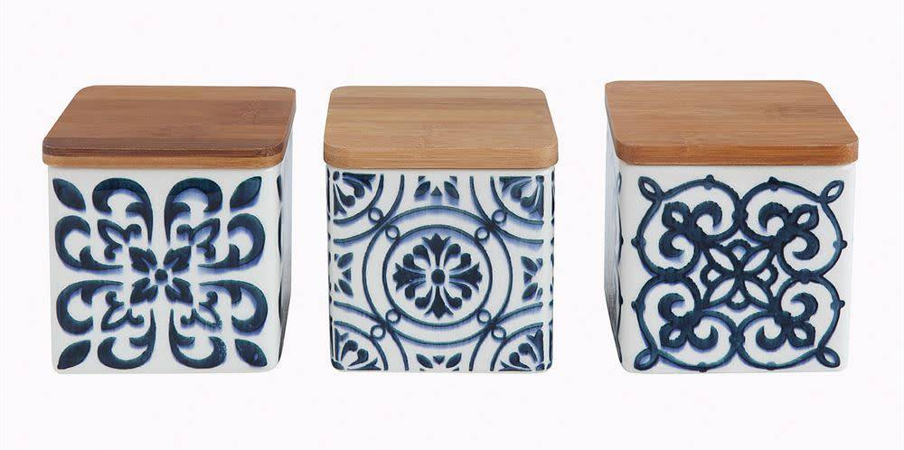 """4"""" Square Square Stoneware Canisters w/ Bamboo Lid, 3 Styles"""