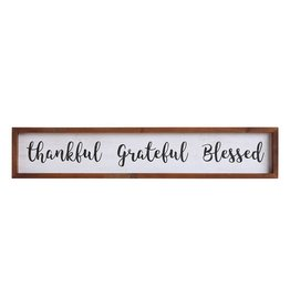 "Wood Framed Wall Decor ""Thankful Grateful Blessed"""