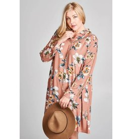 PLUS LACE TRIM FLORAL BUTTON-UP SHIRT DRESS
