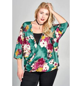PLUS PRINT SURPLICE BLOUSE WITH 3/4 SLEEVE