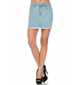 HIGH WAIST CUT EDGE DENIM SKIRT ASSORTED COLORS