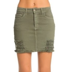 DENIM MINI SKIRT WITH DISTRESS ASSORTED COLORS