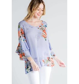 FLORAL PRINT DOUBLE LAYERED RUFFLE TOP