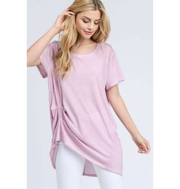 MINERAL WASH DRAPED SIDE TEE