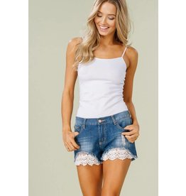 DENIM SHORTS W/ CROCHET DETAIL