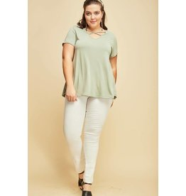 PLUS V-NECK CRISS CROSS SHORT SLEEVE TOP