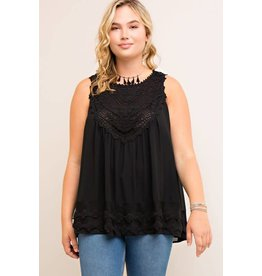 PLUS SLEEVELESS TOP W/ CROCHET AND LACE DETAIL