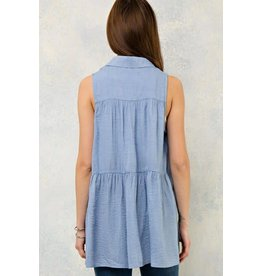 SOLID CRINKLED BUTTON DOWN SLEEVELESS TOP