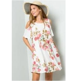WATERCOLOR ROSE PRINT OPEN SHOULDER SWING DRESS