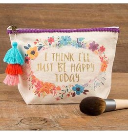 CANVAS MAKEUP POUCH HAPPY TODAY
