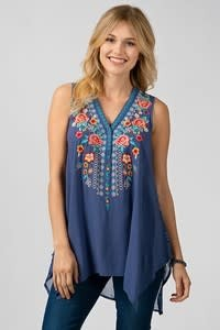 SLEEVELESS EMBROIDERY TANK TOP