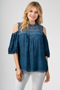 WASH DYE COLD SHOULDER TOP W/ HIGH NECK LACE