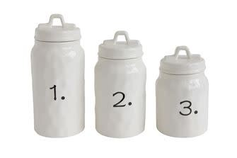 CERAMIC CANISTERS W/ NUMBERS, SET OF 3