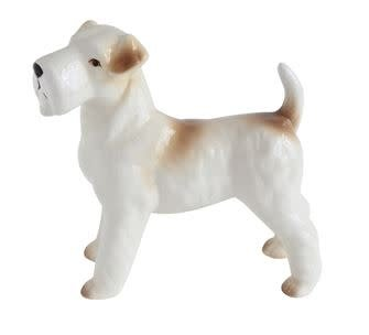 CERAMIC SCOTTISH TERRIER, WHITE/BROWN