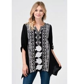 V-NECK EMBROIDERED TUNIC TOP