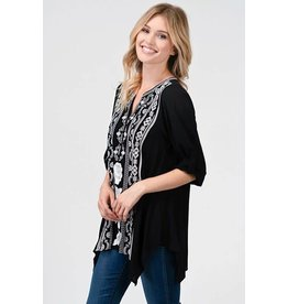 PLUS V-NECK EMBROIDERED TUNIC TOP