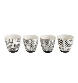 BLACK PATTERN CUP W/ GOLD ASSORTED